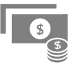 Dollars and coins icon image for Budget