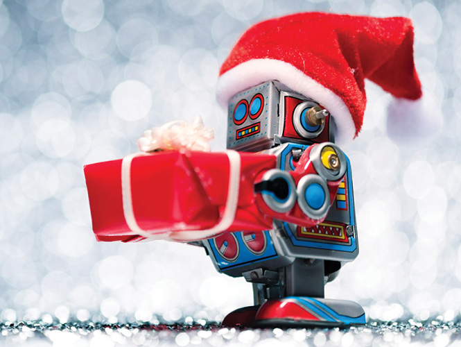 Toy robot holding a wrapped present