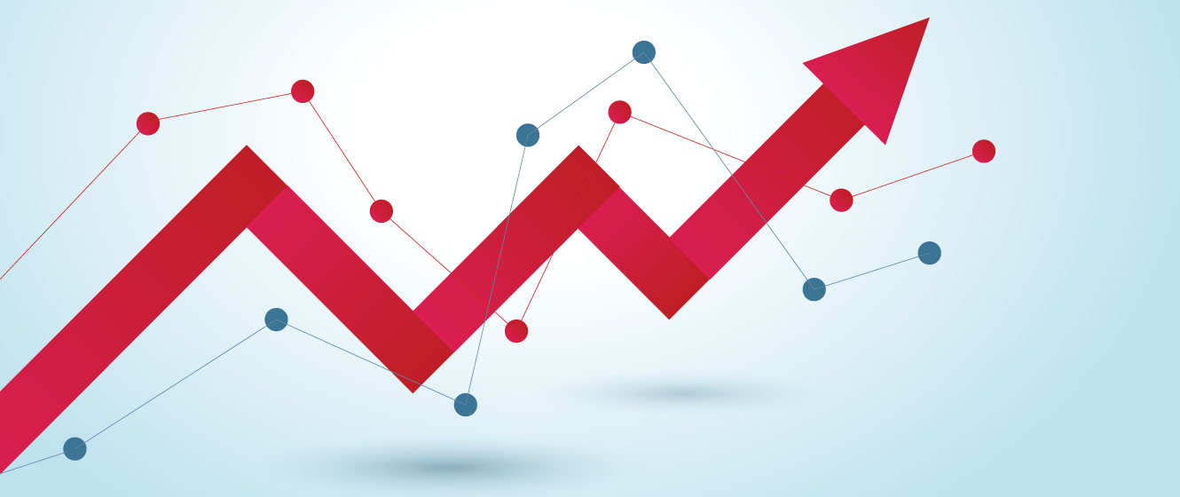 Arrows and data points trending upwards